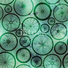 Seamless background pattern. Wheels pattern on grunge green background.