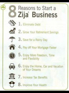8 Reasons to Start a Zija Business http://kendralabouf.myzija.com/opportunity/index.html