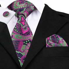 Silk Neck Tie Set Floral Cuff Links Set Pocket Square - in length and in width Necktie - in length and in width Pocket Square Guide, Pocket Square Styles, Tie And Pocket Square, Pocket Squares, Paisley Tie, Cufflink Set, Tie Set, Suit And Tie, Mens Suits