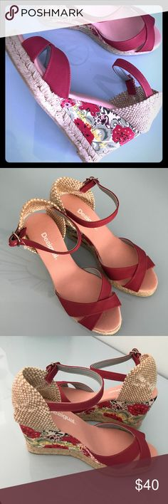 """Desigual floral wedge sandal Super cute and ready for spring! Floral fabric 3.5"""" wedge heels with jute trim. Never been worn. Desigual Shoes Wedges"""