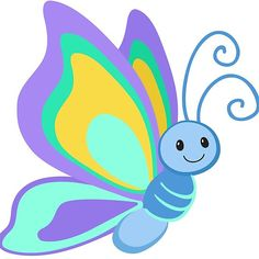 'Cute Cartoon Butterfly' by Sandytov Cartoon Butterfly, Butterfly Clip Art, Butterfly Drawing, Cute Butterfly, Butterfly Crafts, Cartoon Pics, Cute Cartoon, Turtle Painted Rocks, Toddler Arts And Crafts