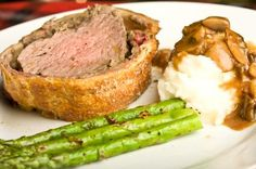Beef Wellington with sides