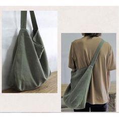Easy-Matching Minimalist Hobo Bag Cotton Linen Casual Korean Shoulder Bag in Khaki Bean Green Hobo Bag Patterns, Tote Pattern, Accesorios Casual, Cotton Bag, Cotton Linen, Diy Tote Bag, Bags Online Shopping, Fabric Bags, Fabric Basket