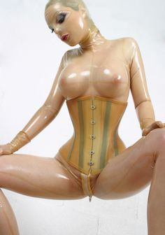 Transparent latex rubber fetish sex