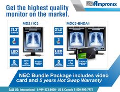 Designed to meet the demanding needs of healthcare professionals, NEC Bundle Package offers superior features including widescreen monitor with calibrated brightness and two-port USB hub/DVI output, assisting in connecting for any type of workstations. Request your FREE quote TODAY at 800.400.7972 or shop online www.ampronix.com