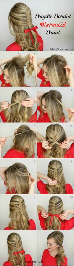 12 Christmas Hairstyles Tutorial D.Y - Brigitte Bardot Mermaid Braid Pretty Hairstyles, Braided Hairstyles, Hairstyle Ideas, Hairstyles 2016, Elegant Hairstyles, Wedding Hairstyles, Mermaid Braid, Christmas Hairstyles, Clip In Hair Extensions