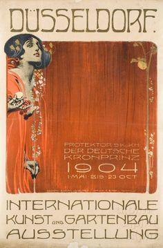 Düsseldorf. Internationale Kunst und Gartenbau Ausstellung (poster)Joseph Adolph Lang1903 Vintage Posters, Vintage Art, Streamline Art, Modern Art Deco, Paper Hearts, Edwardian Era, Graphic Design Art, Printmaking, Art Nouveau