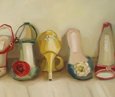 vintage shoes by Janet Hill Fashion Art, Vintage Fashion, Fashion History, Janet Hill, Shoe Art, Art Shoes, Painted Shoes, Vintage Roses, Vintage Heels