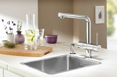 GROHE Minta Touch revitalizes your kitchen with a blend of style and convenience. #kitchen #faucet #touch #sensitive See more at http://www.grohe.co.uk/en_gb/kitchen-collection/mixer-taps-minta-touch.html