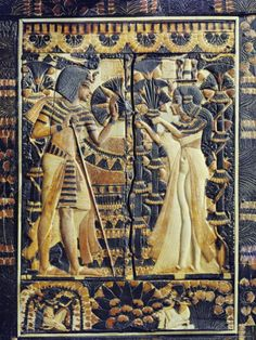 Ivory Plaque from the Lid of Coffer, Tutankhamun and Ankhesenamun in Garden, Egypt, North Africa....Robert Harding
