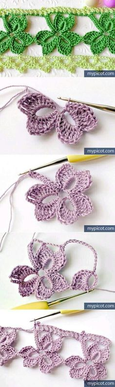 Ideas Free Crochet Trefoil Lace edging with Free Pattern Crochet Diy, Freeform Crochet, Love Crochet, Crochet Motif, Irish Crochet, Crochet Crafts, Crochet Flowers, Crochet Projects, Crochet Borders