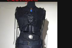 BLACK Armor Bodice Woman Leather Brustpanzer Festival von Elbengard