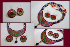My very first trial with a statement paper pendant neckpiece! I made it for my friend's birthday back in January, just didnt get around to uploading it. There were two trials for me, the hoop design and the tanjore-ish painting! I did well enough on both counts, but definitely could be better!