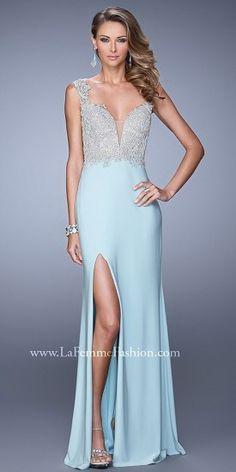 V Shaped Applique Back Prom Dresses By La Femme