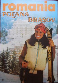Vintage Ski Poster - Romania - ca. 1975 * I went to the retreat in Brasov Vintage Ski Posters, Cool Posters, Vintage Ads, S Ki Photo, Ski Card, Ski Wedding, Romanian Girls, Travel Ads, Ski Holidays