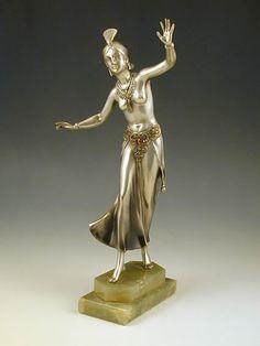 Joseph Lorenzl  DescriptionArt Deco bronze figurine of a Hindu dancer with marble base  Country of ManufactureAustria  Datec.1935