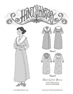Based on a fashion plate from 1912, this pattern comes with two options. View 1 features a lace-trimmed collar, 3/4 length sleeves and asymmetrical side front b