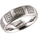 Modern technology redefines Celtic style in this stunning Celtic Knot Wedding Ring! A series of intricate Celtic knot mandalas worked into this amazing lightweight and durable titanium band forms a highly spiritual yet visually attractive look that will be enjoyed for your lifetime together!Shown here in a 8mm width with polished finish, this new Celtic titanium ring is available in a range of finishes, sizes, and widths to fit your own personal styles. This Celtic Wedding Ring may also be…