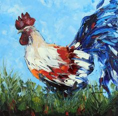 Rooster Original Painting Original Textured Oil by PaletteKnifeArt,  #art #painting #rooster