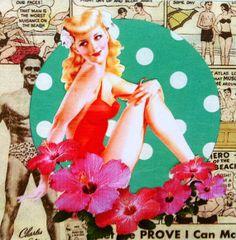 Betty, collage op paneel