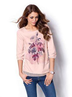 7,99€ Camiseta mujer manga 3/4 estampada con puntilla