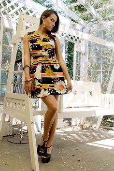 MOD 60s SUNFLOWERS Empire Dress  // VIntage by TatiTatiVintage