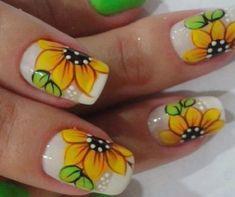 Sunflower nail designs nails в 2019 г. Fingernail Designs, Toe Nail Designs, Acrylic Nail Designs, Acrylic Nails, Nails Design, Art Designs, Wedding Nails For Bride, Bride Nails, Flower Nail Designs