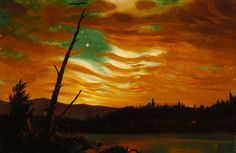 """""""Our Banner in the Sky is a patriotic and artistic response to the Confederate attack on Fort Sumter in April 1861. This first battle of the Civil War led Abraham Lincoln to call for 75,000 militiamen to put down what he called an """"insurrection"""" in the South. Here, artist Frederic Edwin Church painted a vividly colored American flag in the sky as a dynamic part of nature at sunrise."""" Website-http://www.civilwarinart.org/items/show/28"""