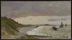 """""""The Seashore at Sainte-Adresse"""" Claude Monet Claude Monet, Minneapolis, American Impressionism, Artist Life, Reproduction, Buy Prints, French Artists, A 17, State Art"""