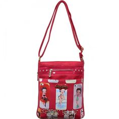 Official Betty Boop® Studded Zipper Front Messenger Bag