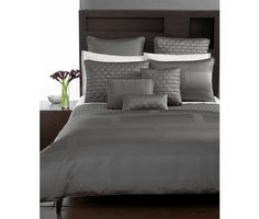 Add a masculine and modern sophistication to your bedroom with the Hotel Collection Frame king duvet. A satin and ribbed frame pattern in nickel hues create a simple, yet stately design. Grey Bedding, Luxury Bedding, Bedding Sets, Neutral Bedding, Modern Bedding, Comforter Cover, Pillow Shams, King Duvet, Bedrooms
