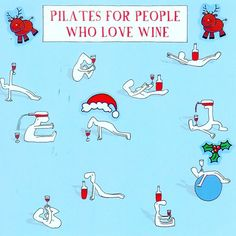 Christmas card for Pilates and wine lovers