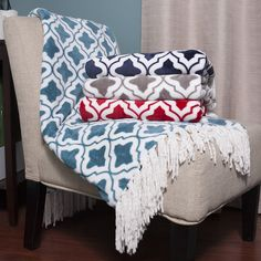 With an ultra soft, cozy microplush construction and a beautiful, scrolling crest geometric pattern, these fringed throws make a stylish, comfortable addition to your home. These throws are made from 260 GSM flannel plush and come in assorted colors.