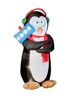 Gemmy Christmas Inflatable Animated Shaking Penguin with Earmuffs  6 Ft  Built in Fan and Lights -- Find out more about the great product at the image link.  This link participates in Amazon Service LLC Associates Program, a program designed to let participant earn advertising fees by advertising and linking to Amazon.com.