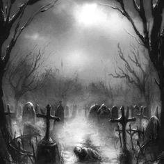 Framed print picture poster gothic grim pencil sketch of a graveyard cemete Dark Artwork, Dark Art Drawings, Gothic Drawings, Arte Horror, Horror Art, Graveyard Tattoo, Old Cemeteries, Graveyards, Beautiful Dark Art