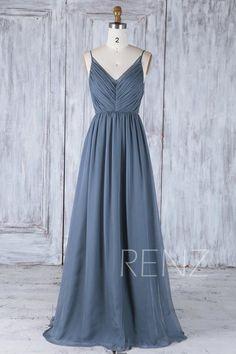 Bridesmaid Dress Dark Steel Blue Chiffon Dress edcf78764409