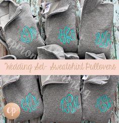 Bridal Party | Monogram Bridesmaid | Monogram Sweatshirt | Wedding Sweatshirt | Monogrammed Pullover | Sweatshirt Pullover | Bridesmaid Gift by CPMONOGRAMMING on Etsy https://www.etsy.com/listing/468088170/bridal-party-monogram-bridesmaid