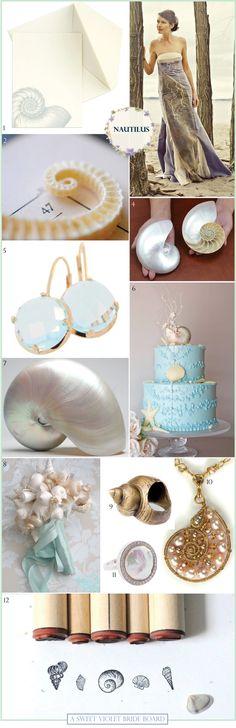 Inspiration Board #5: Nautilus {by Sweet Violet Bride} nautical wedding, sea shell wedding theme