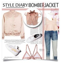 """""""Bomber Jacket: The Feminine Twist"""" by chocohearts08 ❤ liked on Polyvore featuring Anja, Cameo Rose, STELLA McCARTNEY, Topshop, Fleur du Mal, Laurence Dacade, Eddie Borgo and Mansur Gavriel"""