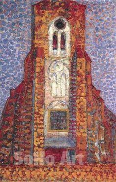 Mondrian Oil Painting | Sun, Church in Zeeland - Piet Mondrian reproduction oil painting