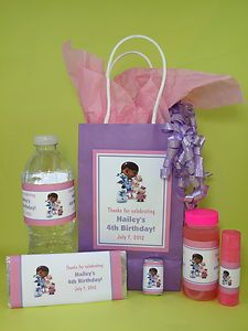 Doc McStuffins Birthday Cake Ideas | Doc McStuffins Birthday PDF CD w Favor Tag Water Candy Bar Bubble ...