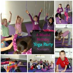 A Yoga birthday party.  Great ideas for hosting at home or at a studio.