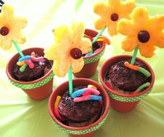 Flower pot dessert with fresh fruit