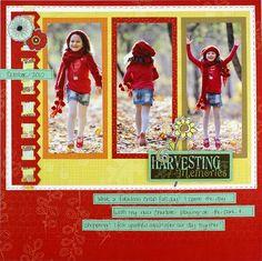 picket fences, memori scrapbook, idea, creativ memori, scrapbook layouts, color combos, harvest memori, bold colors, bright colors