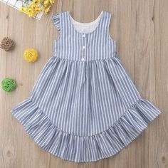 Girls ruffle sleeve stripe sundress Children Clothing, Ruffle Sleeve, Kids Outfits, Financial Planning, Summer Dresses, Girls, Sleeves, Clothes, Fashion