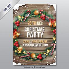 Flyer navideño de madera Vector Gratis