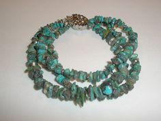 Turquoise triple strand  Bracelet Summer bracelet Fall by yasmi65, $17.00