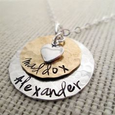 Layered Love  Mom Necklace  hand stamped by JLynnCreations on Etsy, $46.00  Would love this with my husband and daughter's names on it!