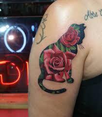 Αποτέλεσμα εικόνας για cats and flowers tattoos