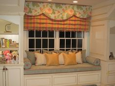 Love the window treatment and the window seat. @ MyHomeLookBookMyHomeLookBook